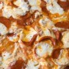 close up of pepperoni pizzaa