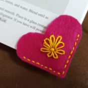 Felt Heart Bookmark - bookmark on corner of book pages