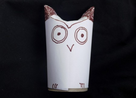 Easy Recycled Owl - Drawing a face on the owl.