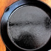 A clean and shiny cast iron pan