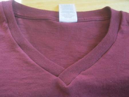 closeup of one finished neckline