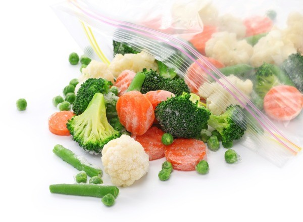 Frozen veggies in a ziplock bag.