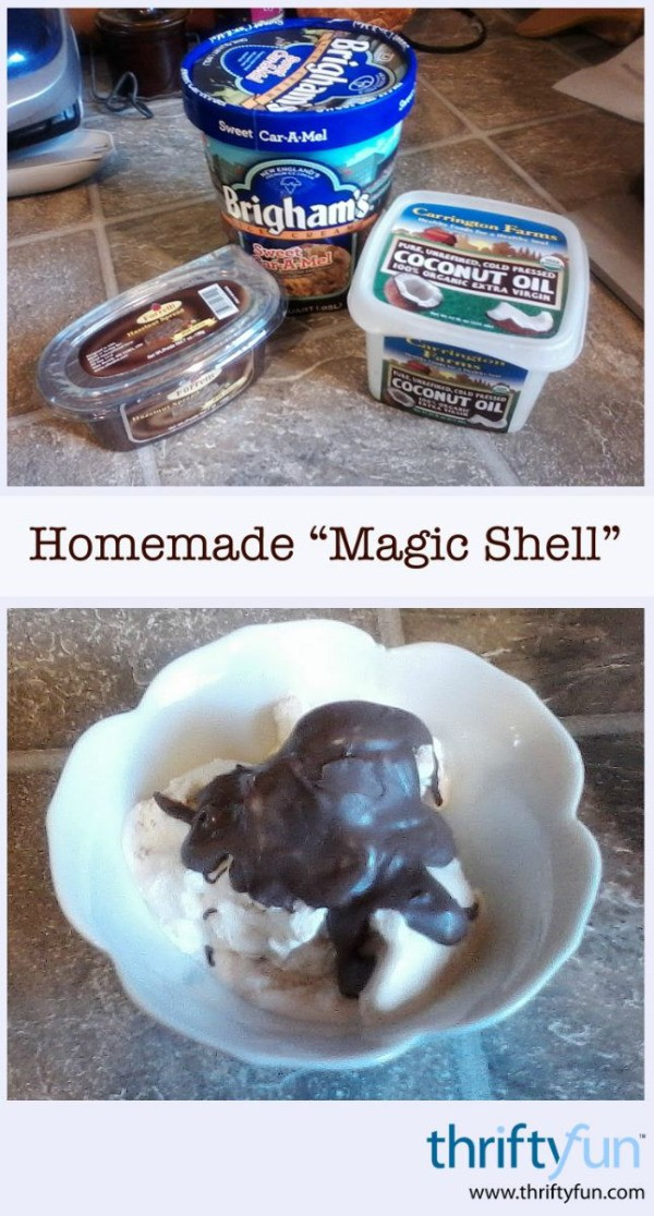 "... shell coating at home. This page contains homemade ""Magic Shell"