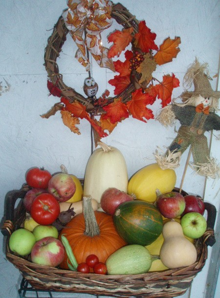 veggies from garden and fall wreath