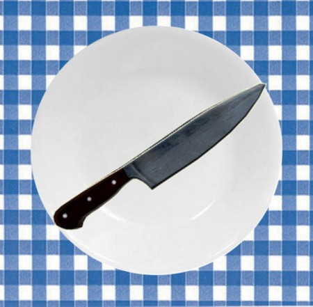 A Corelle plate used as a cutting board