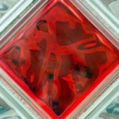 clear and one red glass blocks