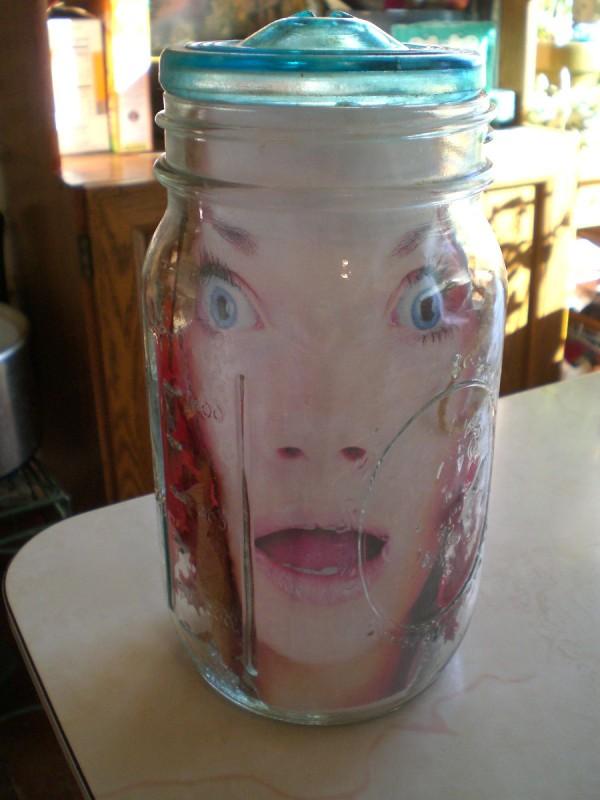 Head in a jar halloween decoration thriftyfun for Heads in jar