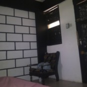 white tile block wall