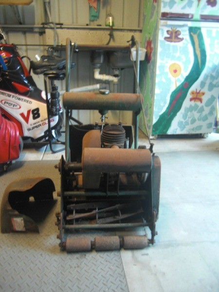 mower in garage or shop