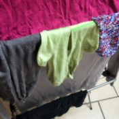 socks on folding drying rack