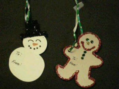 snowman and gingerbread man tags