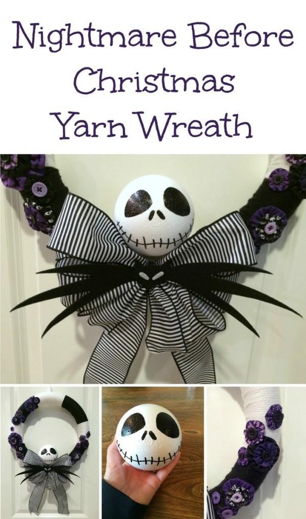 Making a Nightmare Before Christmas Yarn Wreath | ThriftyFun