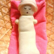 baby doll made from a white sock