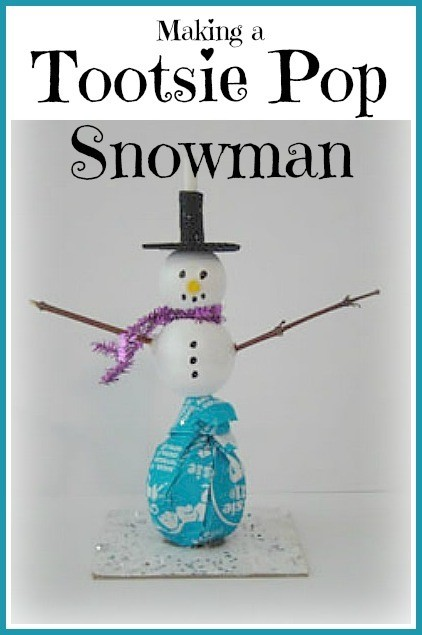 Making a Tootsie Pop Snowman