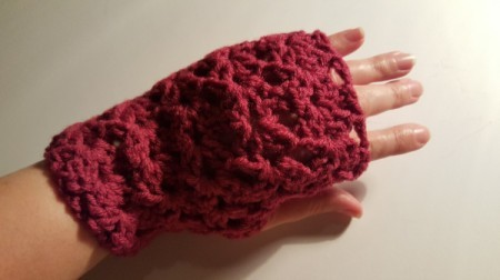 Fan Patterned Fingerless Gloves