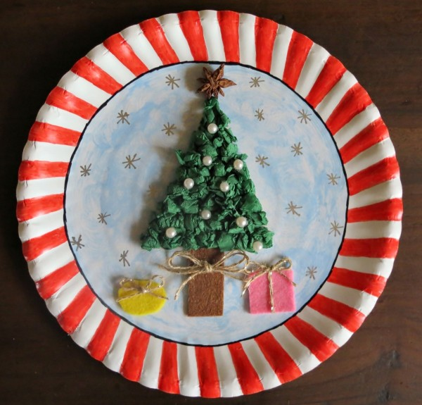 Christmas decorated paper plate