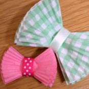 Gift bows made from paper muffin liners.