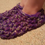 Thick Crocheted Slippers - on child's feet