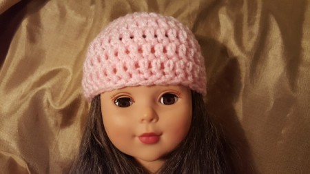 Crocheted Beanie Hat for American Girl Doll