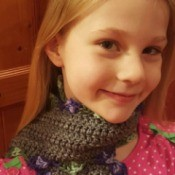Scalloped Children's Crochet Scarf - young girl wearing the scarf