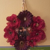 photo wreath hanging on wall