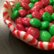Peppermint Candy Bowls - closeup of bowl filled with red and green candies