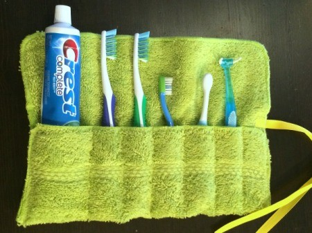 Washcloth Travel Toothbrush Holder - paste and brushes inside the holder