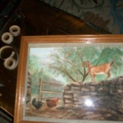 Fabric Tape Mat for Paintings or Photos - painting in frame after adding tape