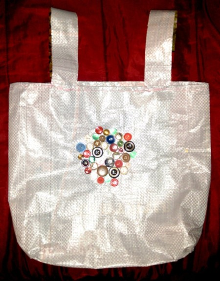 finished tote made from a dog food bag