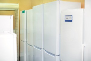 row of white refrigerators