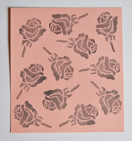 Cupid's Love Gift Bag - roses stamped on pink paper