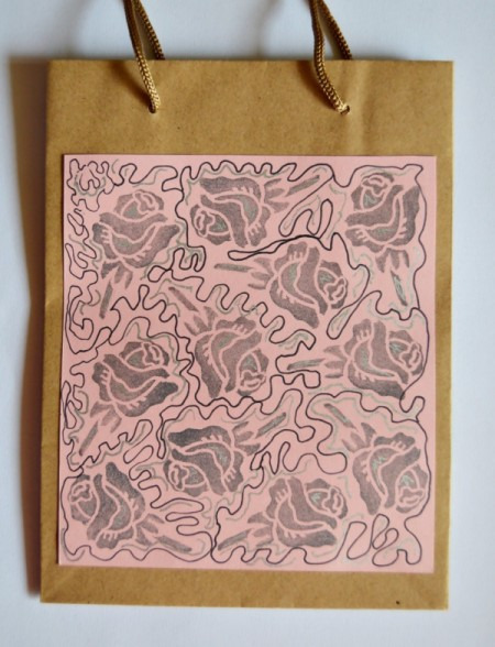 Cupid's Love Gift Bag - decorated pink paper glued to brown paper gift bag