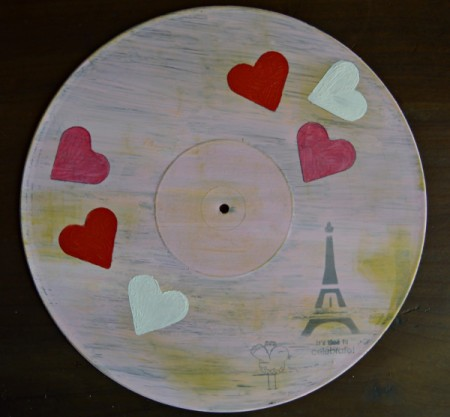 Love You Madly Vinyl Record Underplate   - trace on heart shapes and paint