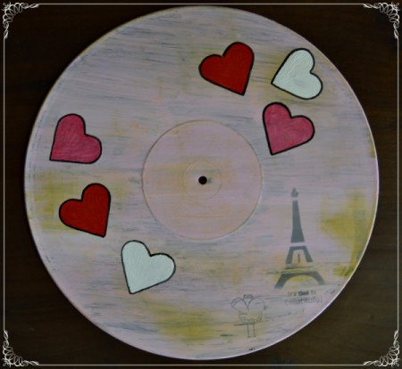 Love You Madly Vinyl Record Underplate   - use a pen to outline the hearts