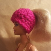 Crochet Ponytail Hat for Barbie Doll
