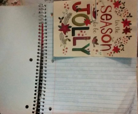 Using a Christmas Card as a Notebook Divider