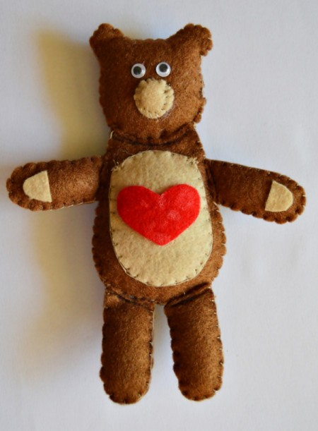 """I Heart You"" Felt Teddy Bear"