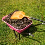 wheelbarrow of horse manure