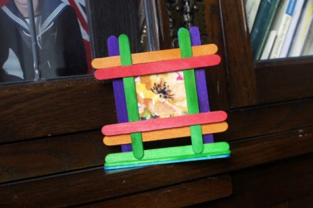 finished frame made from multicolor sticks