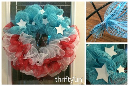 Making a 4th of July Mesh Wreath