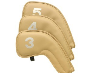 Three tan leather golf club covers against white background.  Covers are labelled 3, 4, and 5.