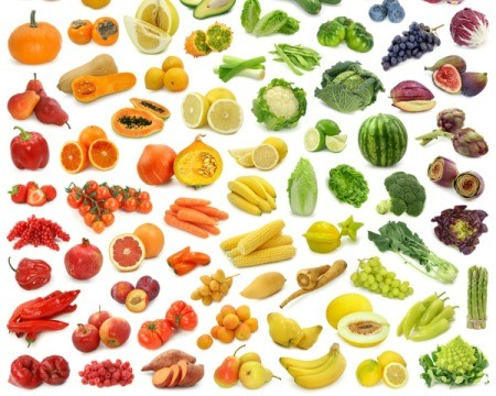 Small images of foods arranged by color against a while background.  Yellow foods like bananas, corn, squash, and yellow mellon are in the middle