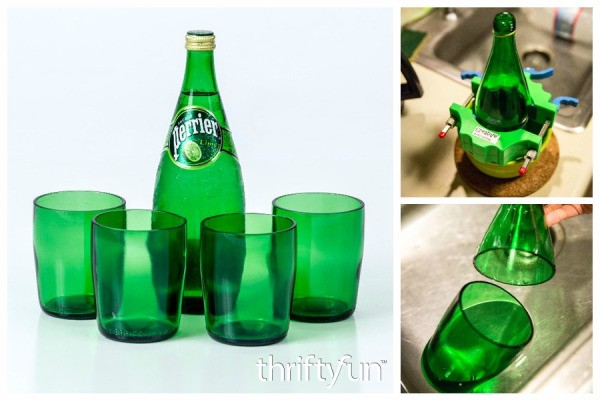 Making recycled perrier bottle glasses thriftyfun for Glasses made out of bottles