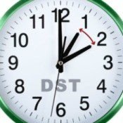 Close up of image of a white clock face with green border.  The clock has DST written on it and two hour hands exactly one hour apart with a red double ended arrow pointing at both hands indicating the hour changes forward and back by one hour