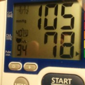 A blood pressure reading of 105/78
