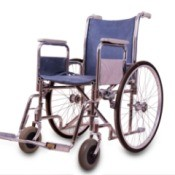 Purple Wheelchair against a white background