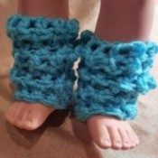 blue crocheted leg warmers