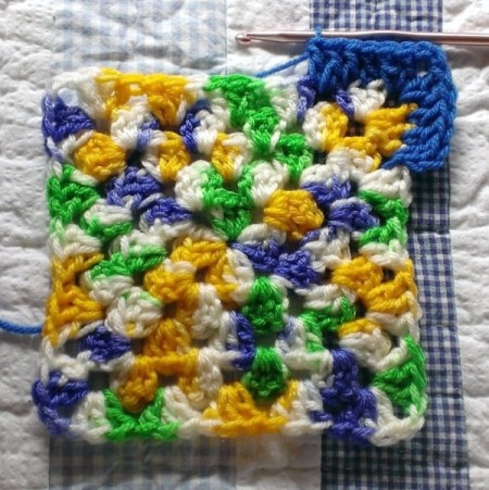 Finished crocheted hot pad.