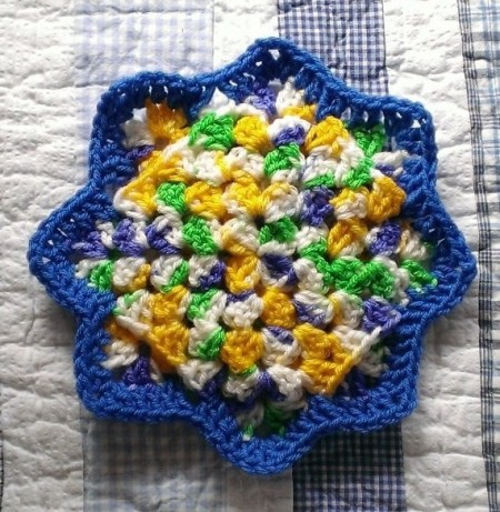 colorful crocheted coaster