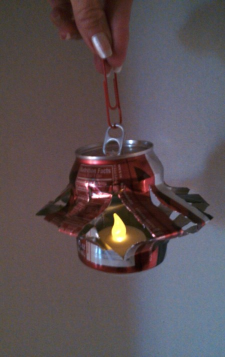 Soda Can Lantern as Outdoor Decor